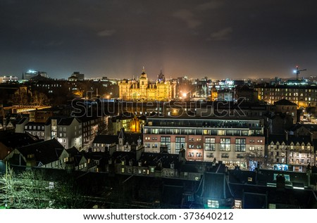 night view of Edinburgh from Edinburgh Castle, Scotland, UK - stock photo
