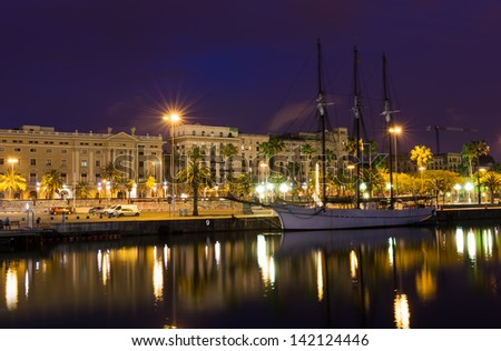 Night view of embankment in the port of Barcelona  Spain - stock photo