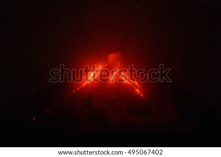 Night view of eruption Klyuchevskoy Volcano, current lava flows on slope of volcano. Eurasia, Russian Far East, Kamchatka Peninsula, Klyuchevskaya Group of Volcanoes.