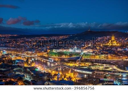 Night view of European metropolis - Tbilisi - stock photo