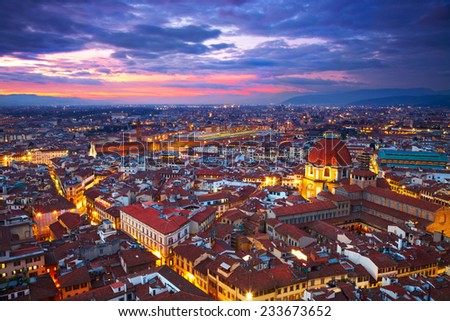 Night view of Florence, Italy - stock photo
