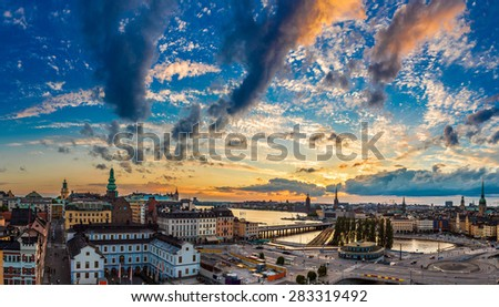 Night view of Gamla Stan, the old part of Stockholm, Sweden - stock photo