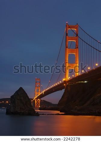 Night view of Golden Gate bridge - stock photo