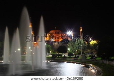 Night view of Haghia Sophia Church in Istanbul, Turkey - stock photo
