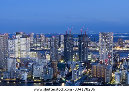 Night view of Harumi Ariake area that Tokyo urban landscape 2020 Tokyo Olympic competition venues to focus - stock photo