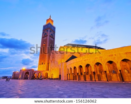 Night view of Hassan II Mosque in Casablanca, Morocco, Africa - stock photo