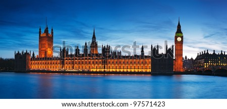 Night view of Houses of Parliament. London - England. - stock photo