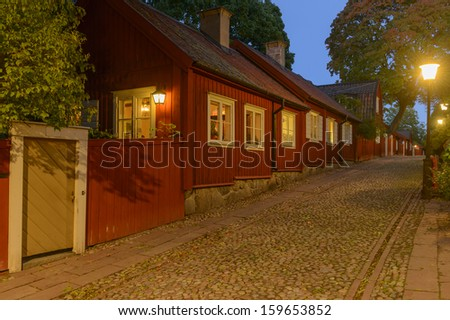 Night view of idyllic part in Sodermalm, Stockholm - stock photo