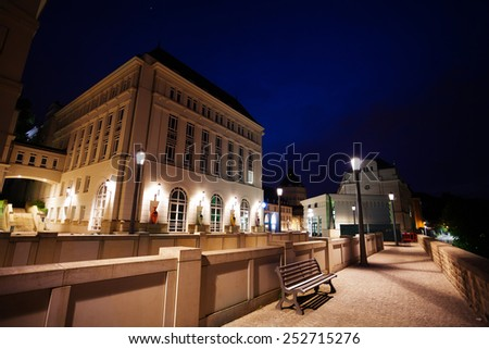 Night view of Judiciary City - Plateau St. Espirit in Luxembourg - stock photo