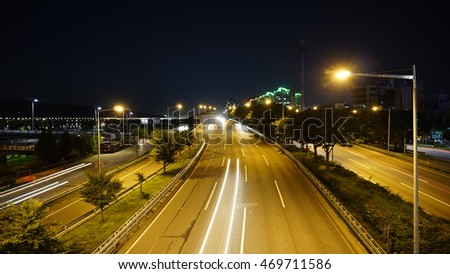 night view of Korea as the Olympic track car