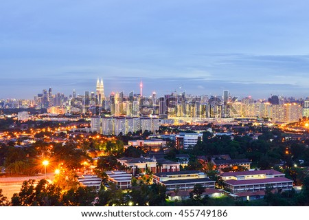 Night view of Kuala Lumpur skyline at twilight