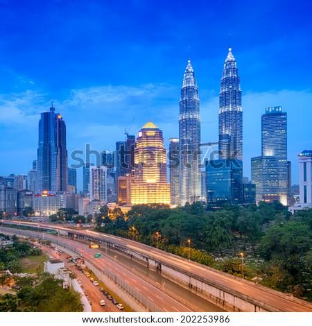 Night view of Kuala Lumpur skyline. (MAlaysia) - stock photo
