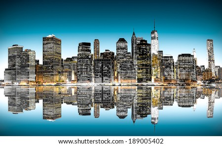night view of Manhattan with reflections, New York
