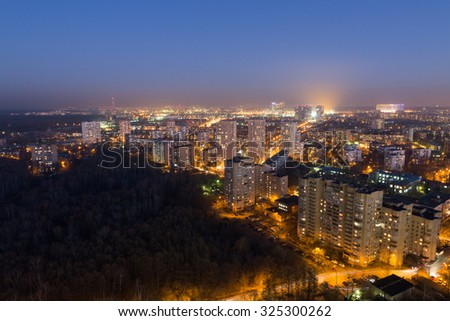Night view of Moscow uptown near the forest