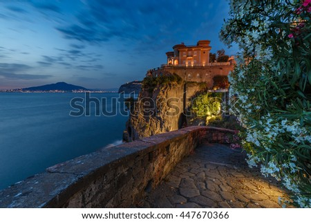 Night view of Mount Vesuvius and Naples. Italy. - stock photo