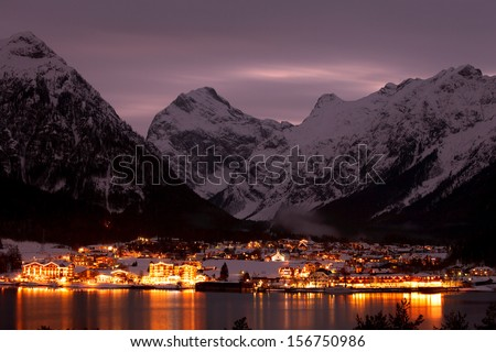 night view of mountain village - stock photo