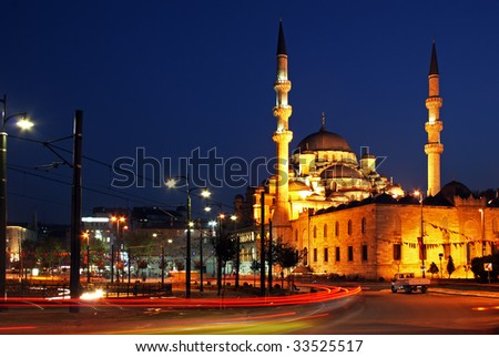 Night view of New Mosque and night traffic in Istanbul, Turkey