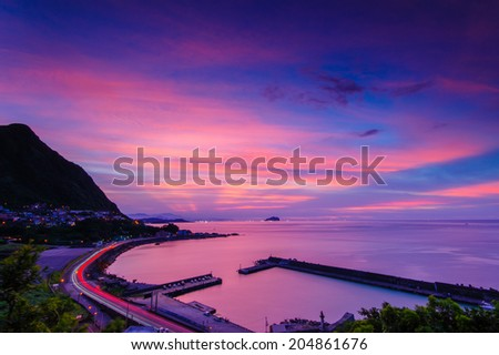 night view of northern coast in taiwan - stock photo