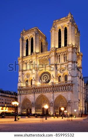 Night view of Notre Dame de Paris, France - stock photo