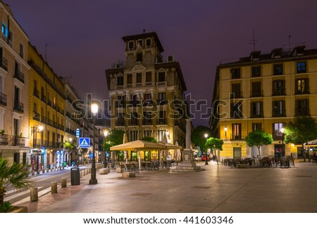 Night view of old square in Madrid. Spain