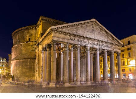 Night view of Pantheon in Rome, Italy - stock photo