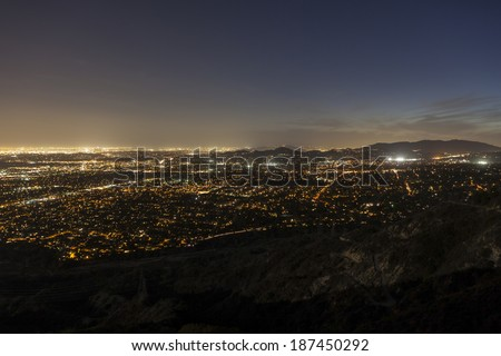 Night view of Pasadena, Glendale and downtown Los Angeles.   - stock photo
