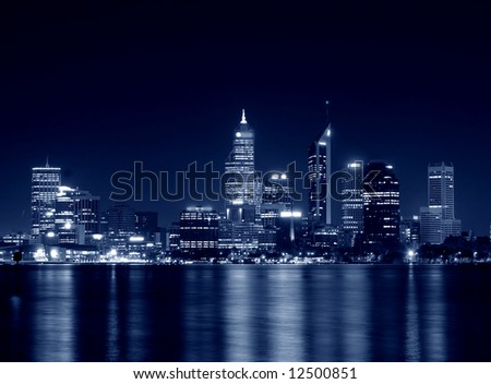 night view of perth, western australia in blue tone
