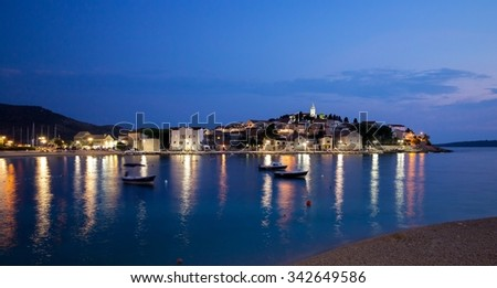 Night view of Primosten Old Town, Dalmatia, Croatia - stock photo