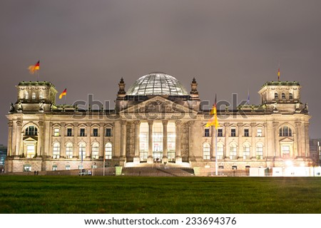 Night view of Reichstag building in Berlin, Germany