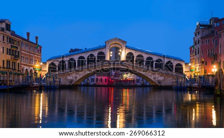 Night view of Rialto bridge in Venice. Italy - stock photo