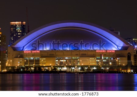 night view of Rogers Center, from Central Island - stock photo