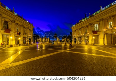 Night view of Rome Capitoline Hill, statue Marcus Aurelius in Rome, Italy. Rome architecture and landmark. Rome cityscape.