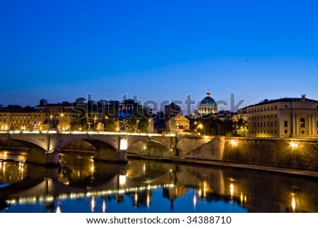 Night view of Saint Peter's Basilica in Rome - stock photo
