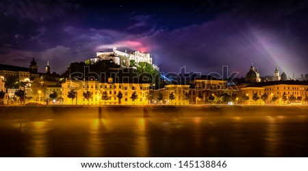 Night view of Salzburg, Austria .Historic Centre of the City of Salzburg is on World Heritage List. - stock photo