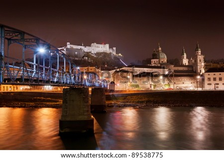 Night view of Salzburg, Austria .Historic Centre of the City of Salzburg is on World Heritage List.