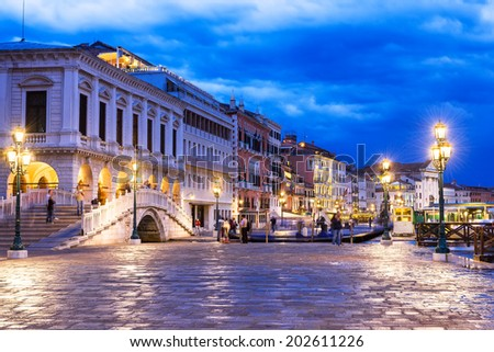 Night view of seafront of San Marco square in Venice, Italy - stock photo