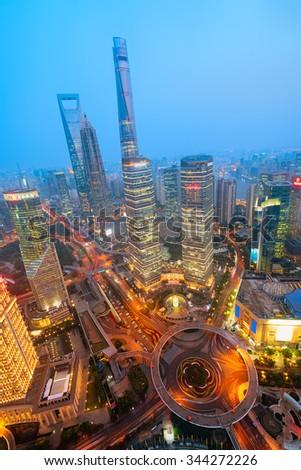 Night view of Shanghai`s skyline. - stock photo
