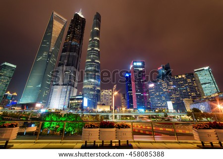night view skyscrapers other modern buildings stock photo royalty