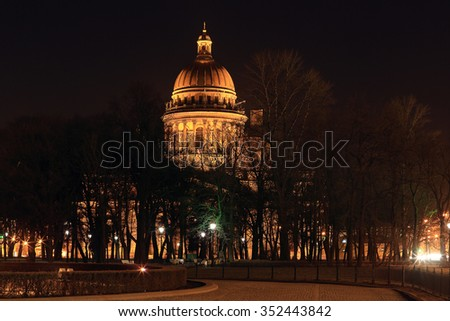 Night view of St. Isaac's Cathedral in St. Petersburg, Russia. - stock photo