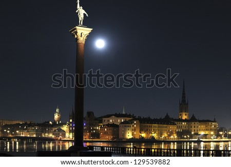 Night view of Stockholm old town - stock photo