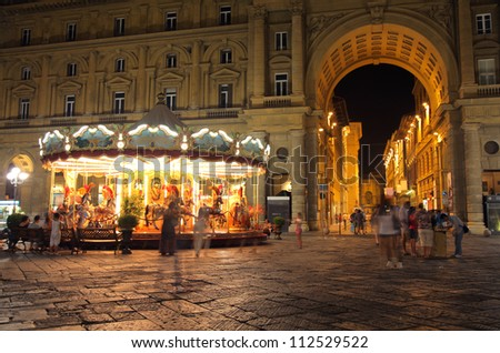 night view of street of Florence, Italy - stock photo