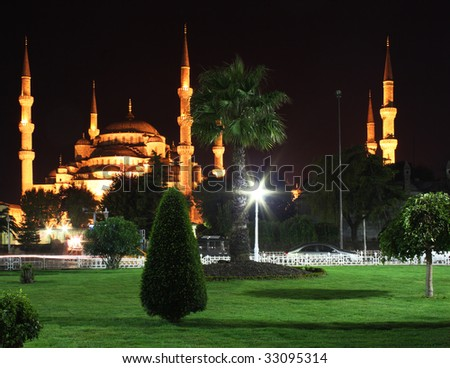 """Night view of Sultanahmet (""""Blue"""") Mosque in Istanbul, Turkey - stock photo"""