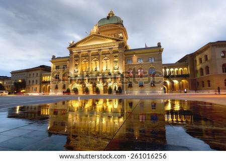 Night view of Swiss Parliament Building Bundesplatz. Bern. Switzerland  - stock photo