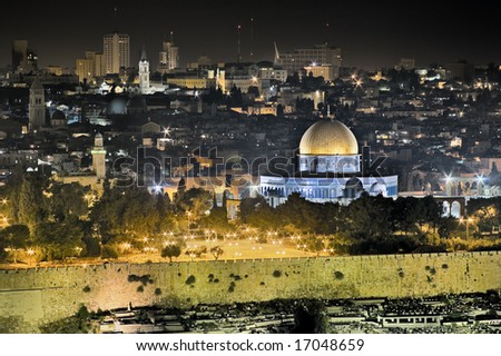 Night view of Temple Mount from the Mount of Olives, Jerusalem, Israel