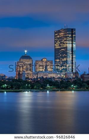 Night view of the Boston Skyline in portrait mode - stock photo