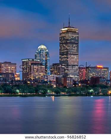 Night view of the Boston Skyline of Copley Square - stock photo