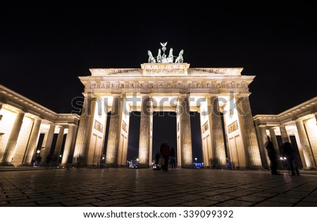 Night view of  The Brandenburg Gate in Berlin, Germany  - stock photo