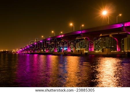 Night view of the bridge in downtown Miami - stock photo