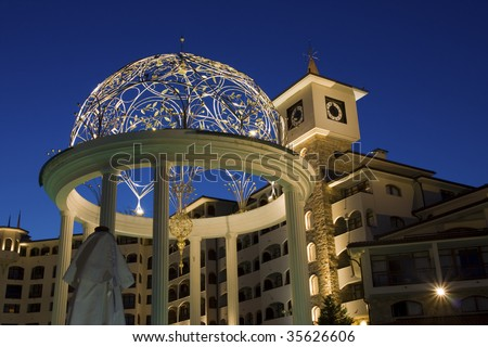Night view of the building - stock photo