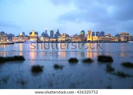 Night view of the Bund Shanghai - stock photo